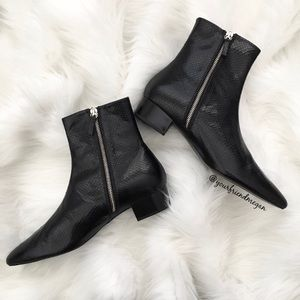 Zara Black Embossed Pointed Toe Ankle Boots